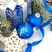 Ограждение Декор Синий с Подарком Шариками и Звездой