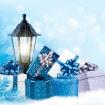 Ограждение Декор Фонарь с Серебристо-Синими Подарками
